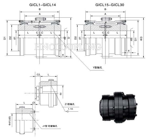 GICL Gear Coupling Size